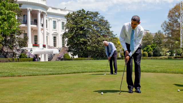 President Barack Obama and Vice President Joe Biden putt on the White House putting green in 2009. Fifteen of the last 18 presidents have played golf.