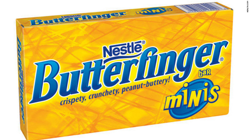 "<strong>Best peanut-butter candy: Butterfinger Minis, 3.5-ounce box </strong><br />A full package of these ""crispety, crunchety, peanut-buttery"" candies adds up to 450 calories, 20 grams of fat (10 grams saturated) and 45 grams sugar. But it's not all bad: You also get 5 grams of protein and 1.5 grams of fiber -- so it may satisfy you more than another candy that's just straight sugar. <br /><br />""If you're choosing between candies that are pretty much all bad, it makes sense to consider the way you're going to be eating it,"" says Kriegler. ""I would pick the snack you would have to take the longest time eating or chewing or sucking on -- anything to help you slow down the pace at which you're inhaling it."""