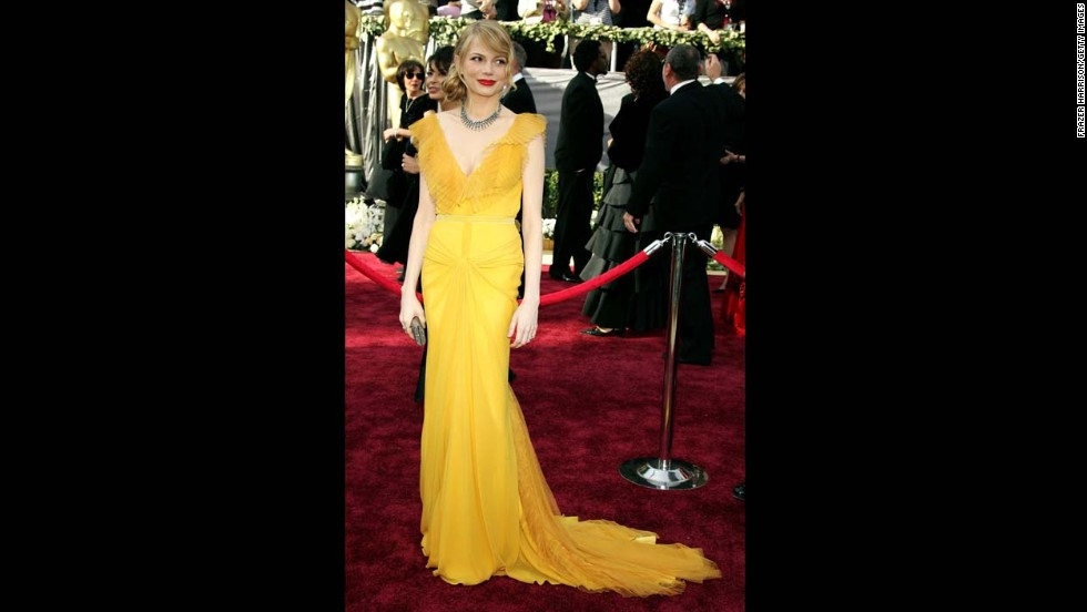 "When an Oscar dress in yellow is done right, it becomes unforgettable. The canary gown Michelle Williams wore to the 2006 Oscars, when she was nominated for best supporting actress for ""Brokeback Mountain,"" was as buzzed-about as the groundbreaking film."