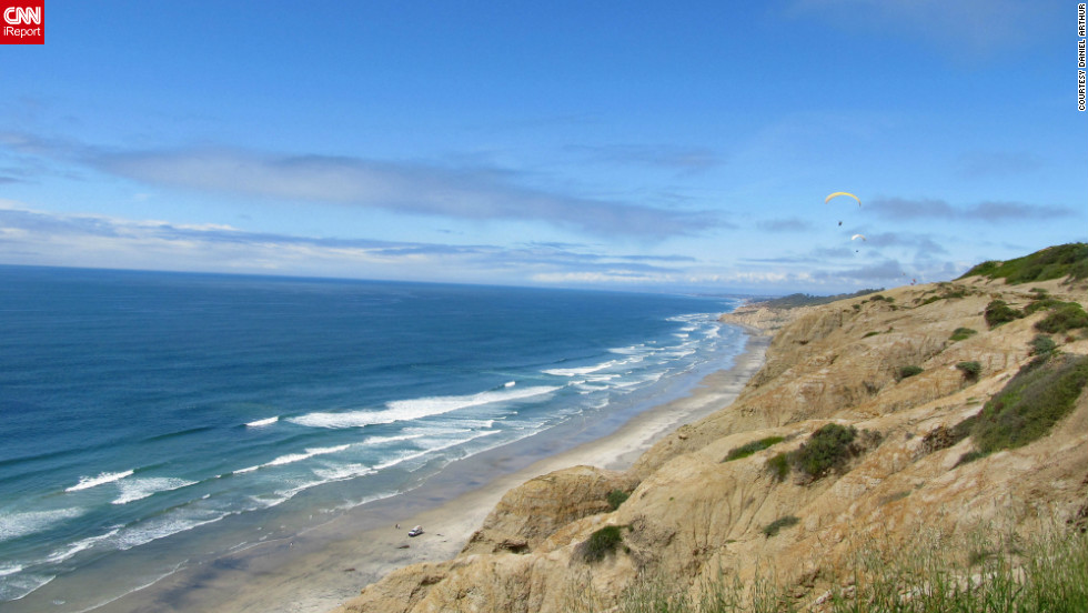 Daniel Arthur spent time on a sunny day at Torrey Pines State Reserve in San Diego, California. He enjoyed the views from the top of the cliffs, the expansive sandy beach and the cool surf.