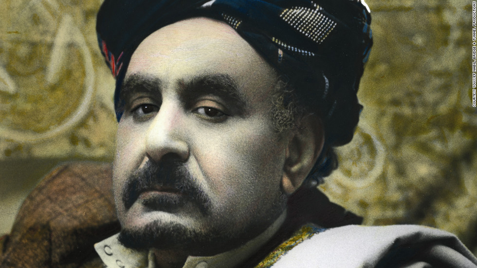 Abdo Ahmad Mohammad Obeya, one of the South Shields Yemeni elders whose portrait was taken by Egyptian Youssef Nabil, and hand-colored in the style of old-fashioned Egyptian movie posters.