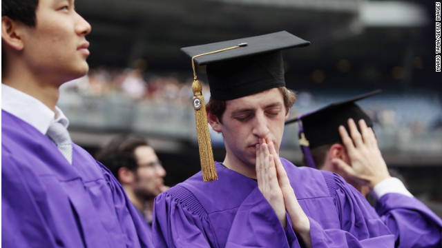 Students attend New York University's commencement at Yankee Stadium on May 16, 2012. The jobless rate for recent grads is 8.9%.
