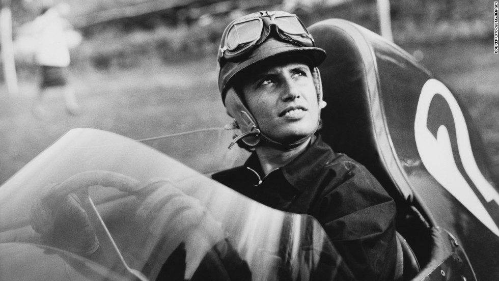 Italian race car driver Maria Teresa de Filippis is seen at the wheel of a Maserati in 1958. She was the first woman to compete in a Formula One race.