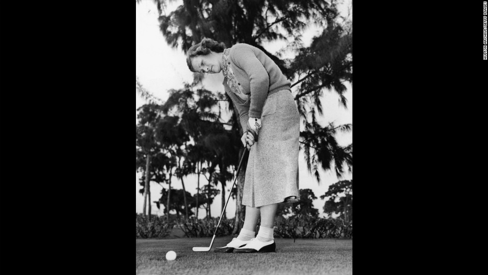 Babe Didrikson Zaharias putts in circa 1945. She became the first female to play on the men's PGA Tour in the Los Angeles Open on January 7, 1938. She was also an Olympic gold medalist in track and field.