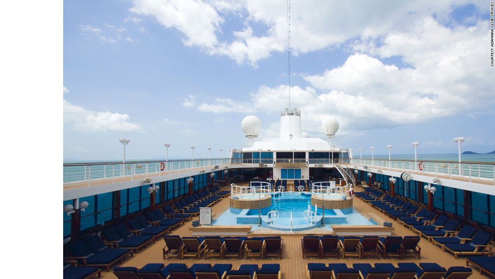 The Azamara Quest's best for fitness win is due in part to a lovely jogging path around the top deck pool.