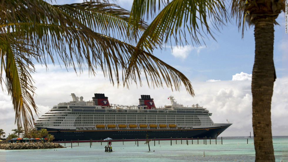 The Disney Fantasy docks at Castaway Cay, Disney's private island in the Bahamas.