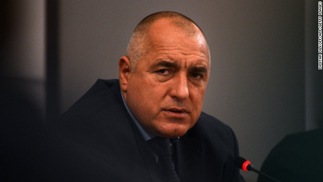 Bulgarian Prime Minister Boyko Borisov gives a press conference in Sofia on February 19, 2013.