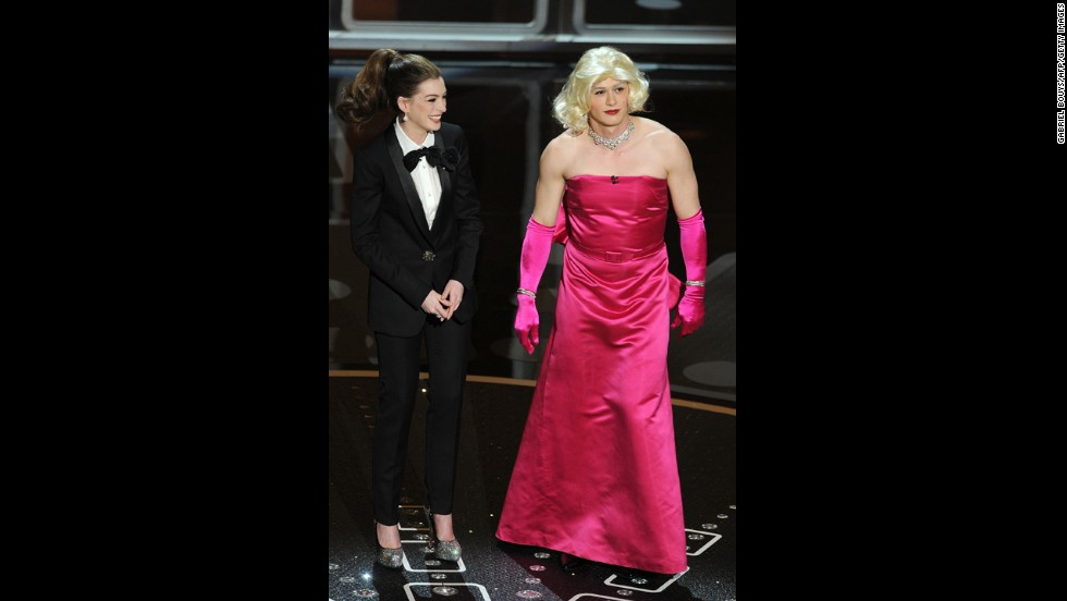 "Anne Hathaway and James Franco are two of the most <a href=""http://marquee.blogs.cnn.com/2011/02/28/oscars-the-bomb-heard-round-the-internet/"">awkward </a>hosts in the history of the Academy Awards. Hathaway got flak for trying too hard, while Franco was criticized for having his head in the clouds. ""The worst Oscarcast I've seen, and I go back awhile,"" Roger Ebert tweeted. ""Some great winners, a nice distribution of awards, but the show? Dead. In. The. Water."""