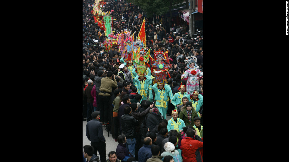 Dancers take to the streets for the Chinese New Year celebration on February 21 in Ningbo, China.