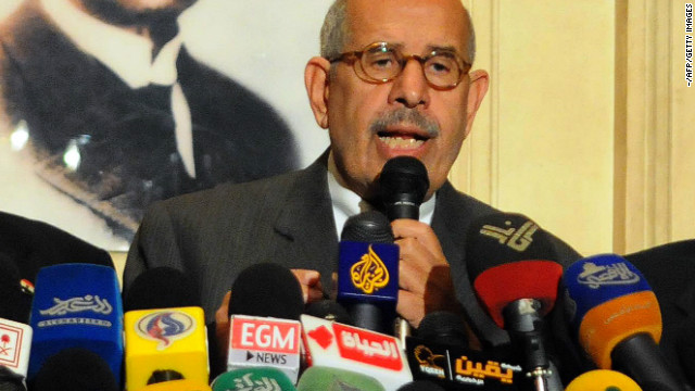 Egyptian opposition leader and Nobel Prize laureate Mohamed ElBaradei at a press conference in Cairo on January 28, 2013.