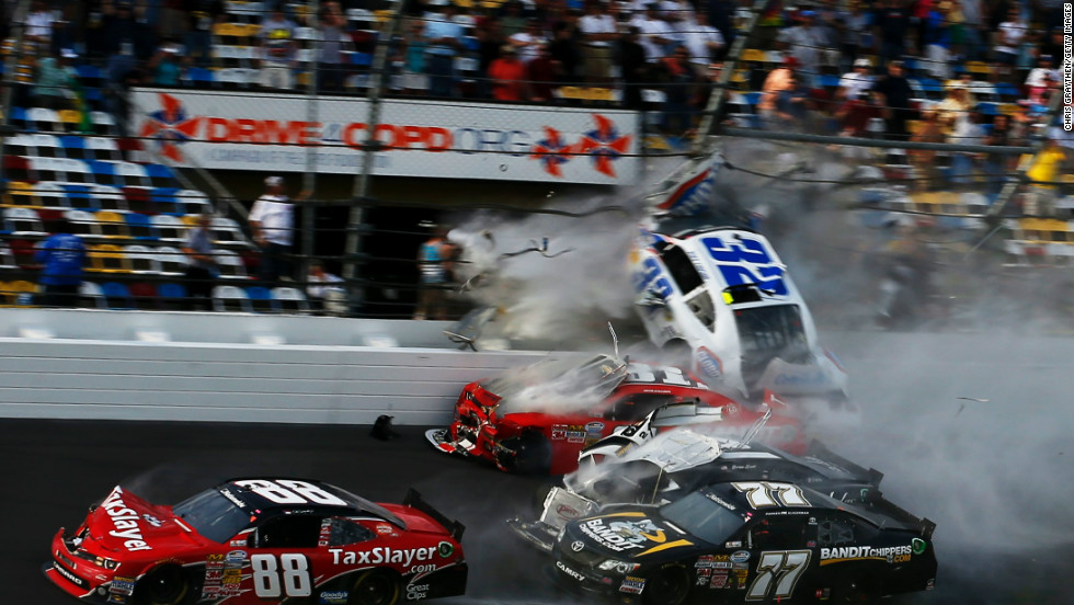 Larson's car then made impact with the fence separating the grandstand from the track, severing his engine from his vehicle.