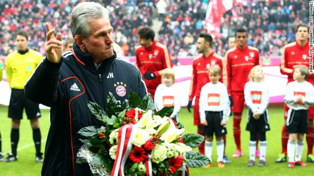 Bayern Munich head coach Jupp Heynckes acknowledges the crowd ahead of his 1,000th Bundesliga appearance.