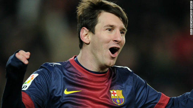 Barcelona forward Lionel Messi celebrates after scoring the winner at home to Sevilla on Saturday.