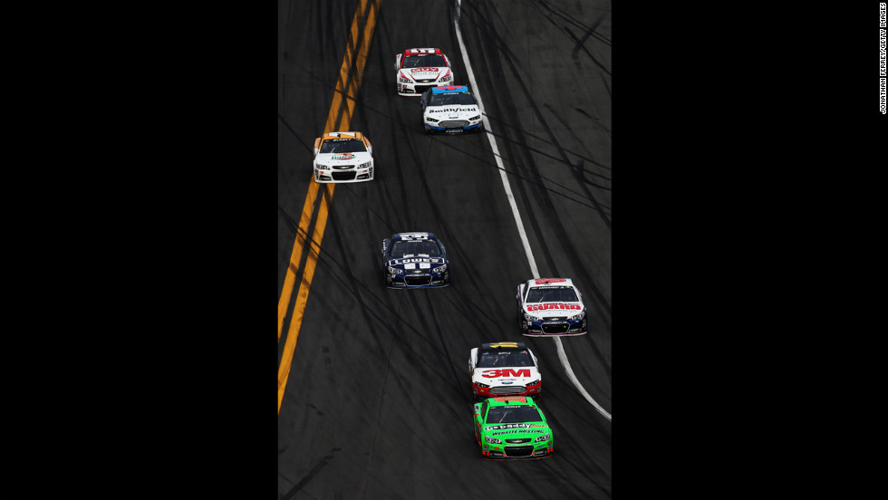 Danica Patrick leads the field during the Daytona 500. She became the first woman to lead a lap in the race.