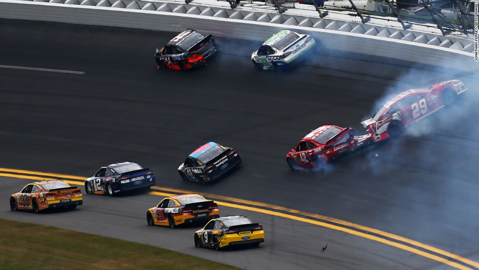 No. 29 Kevin Harvick, right, spins out of control after crashing into No. 42 Juan Pablo Montoya.