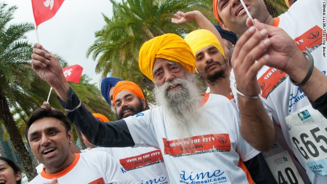 Fauja Singh, 101-years-old, participates in the 10K run, during the 2013 Hong Kong Marathon on February 24, 2013 in Hong Kong.