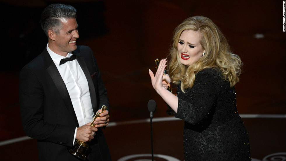 "Songwriter Paul Epworth and singer Adele accept the Oscar for best original song for ""Skyfall."" An emotional Adele thanked ""my man"" before turning the microphone over to Epworth."