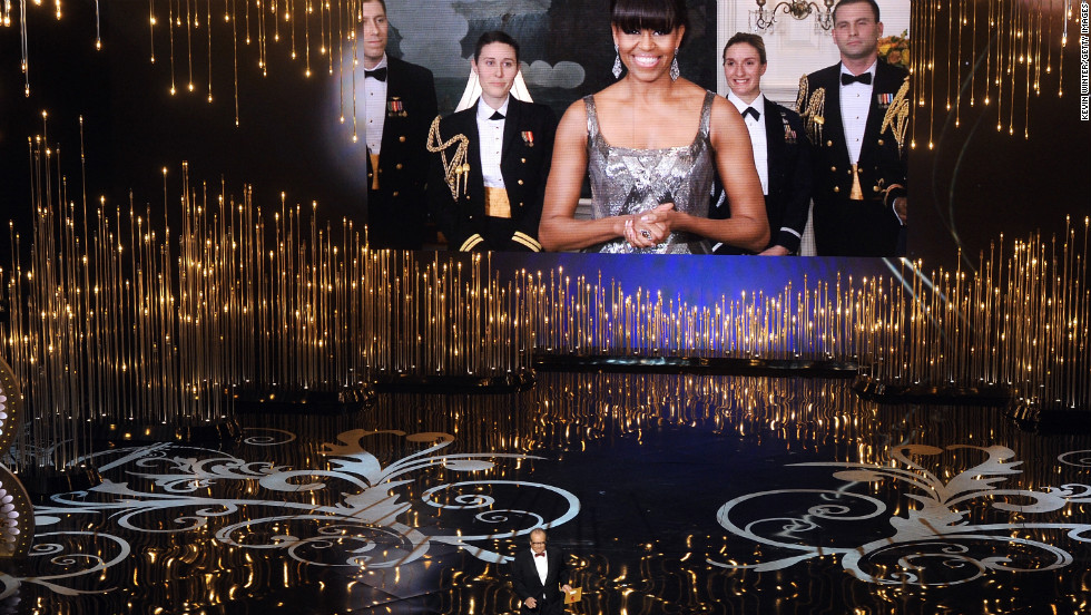 """Jack Nicholson and Michelle Obama present the Oscar for best picture.  Read more on the first lady's appearance on the <a href=""""http://politicalticker.blogs.cnn.com/2013/02/25/and-the-biggest-surprise-of-the-night-goes-to-michelle-obama/"""" target=""""_blank"""">CNN Political Ticker</a>."""