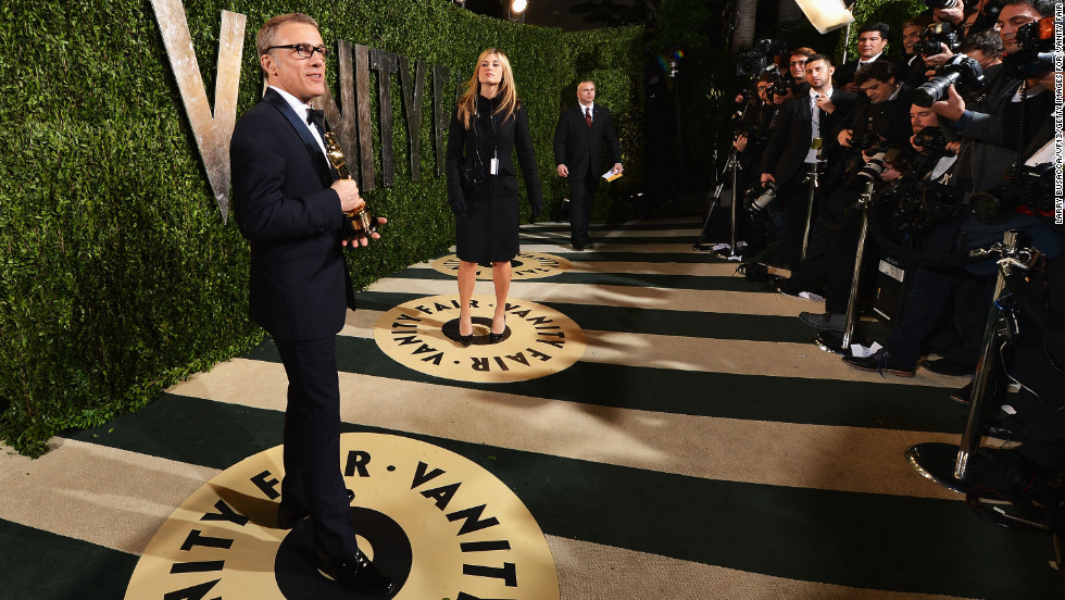 Actor Christoph Waltz arrives for the 2013 Vanity Fair Oscar Party after attending the Academy Awards on Sunday, February 24.