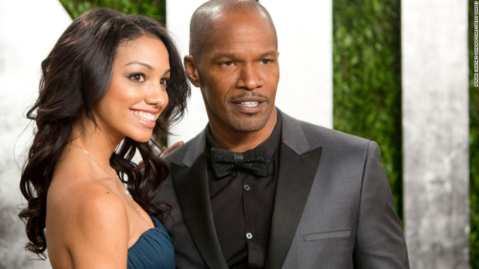 Jamie Foxx and daughter at the 2013 Vanity Fair Oscar party.
