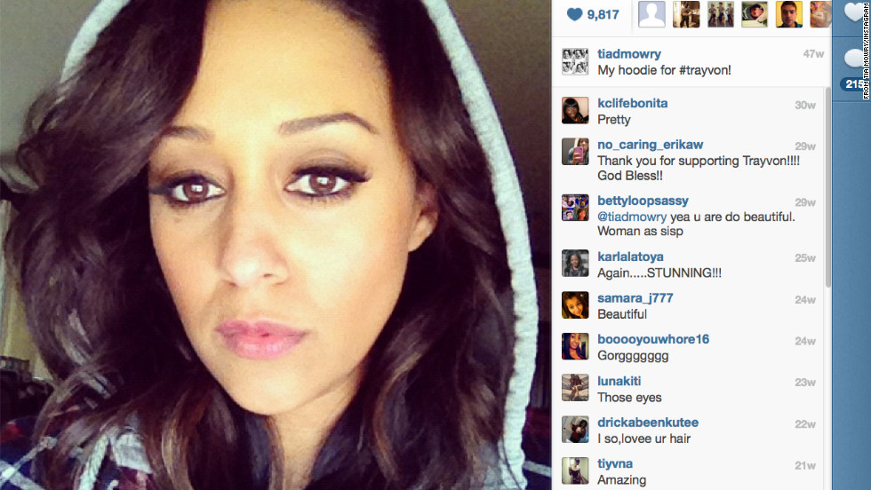 "Actress Tia Mowry posted this photo on her Instagram account, writing, ""My hoodie for #trayvon!"""