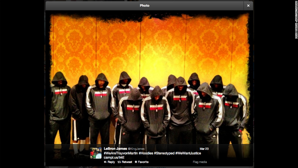 As outrage grew over the death of an unarmed Florida teenager last year, some donned hoodies as a nod to the apparel Trayvon Martin was wearing when he was killed. Church members, protesters, politicians, celebrities and athletes wore it in support of Martin. In this widely shared photo, LeBron James and members of the Miami Heat basketball team wear hooded sweatshirts.