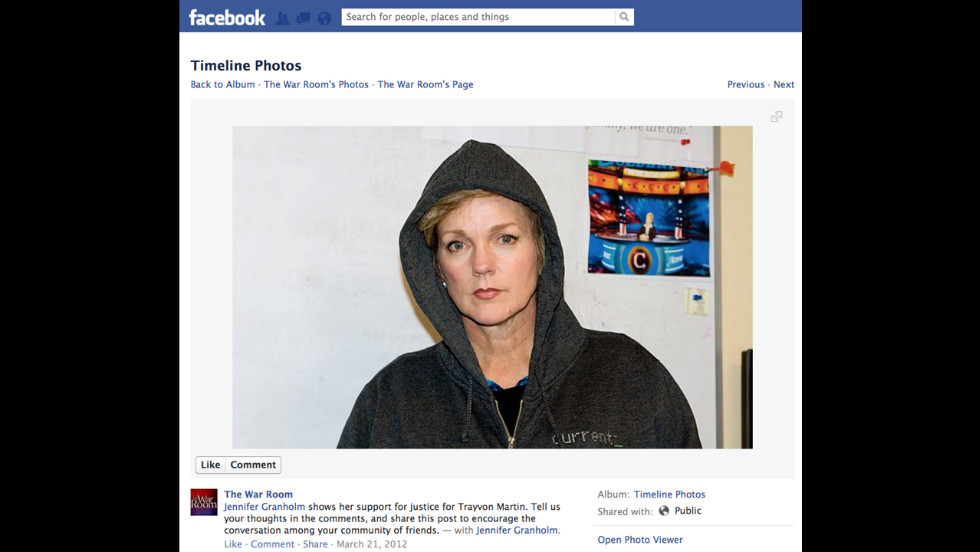 Former Michigan governor and Current TV host Jennifer Granholm donned a hoodie in this photo on Facebook.