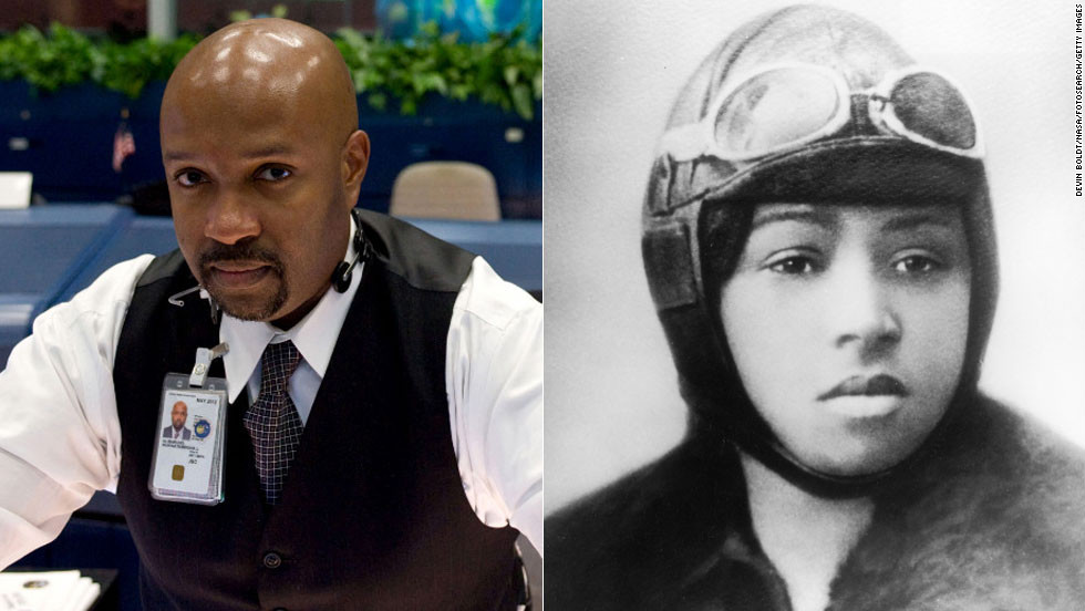"""Bessie Coleman, right, was not only the first African-American woman to become a licensed pilot but also the first African-American to hold an international pilot's license. NASA flight director <a href=""""http://www.nasa.gov/centers/johnson/news/releases/J05-054.html"""" target=""""_blank"""">Kwatsi Alibaruho</a> carried on the tradition of pioneering flight as NASA's first African-American space shuttle flight director. He served as the lead space shuttle flight director for the last shuttle flight in 2011."""