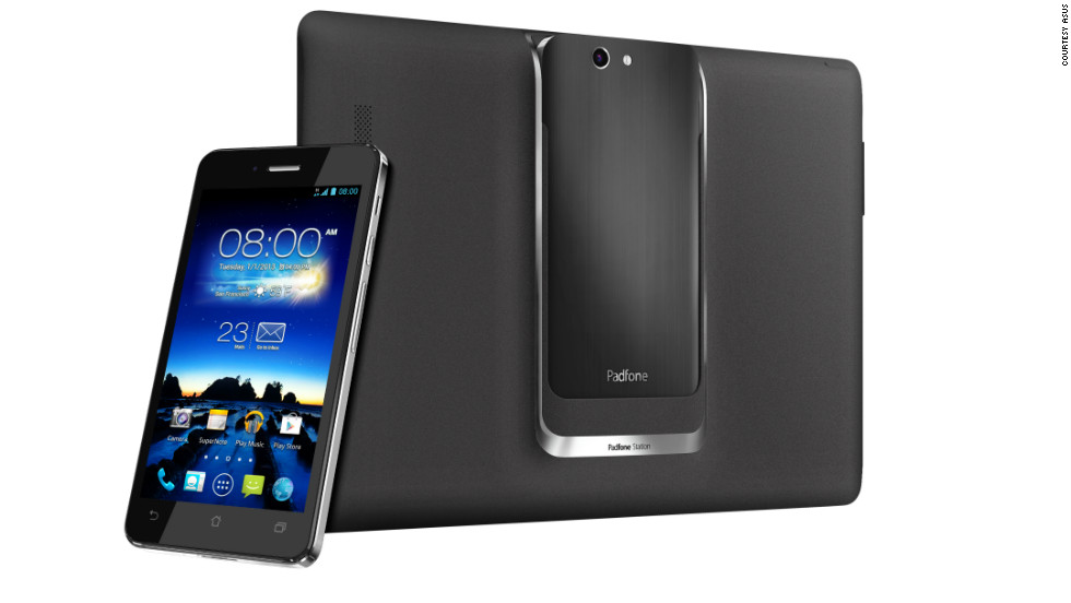 Asus' phablet is the PadFone Infinity: A five inch smartphone that, once slotted into a dock, becomes a 10.1 inch tablet.