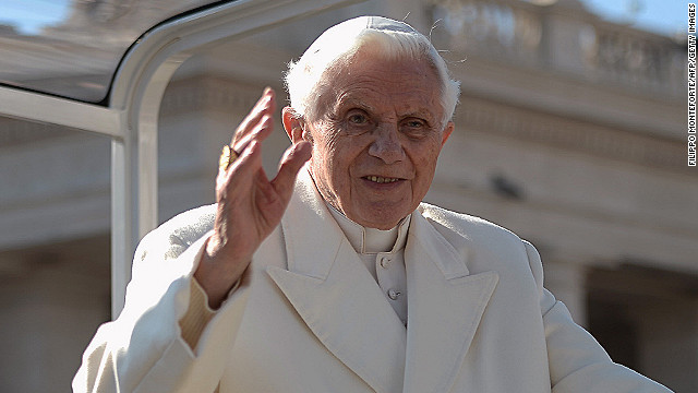 Pope Benedict XVI waves as he arrives on St Peter's square for his last weekly audience on February 27, 2013 at the Vatican.