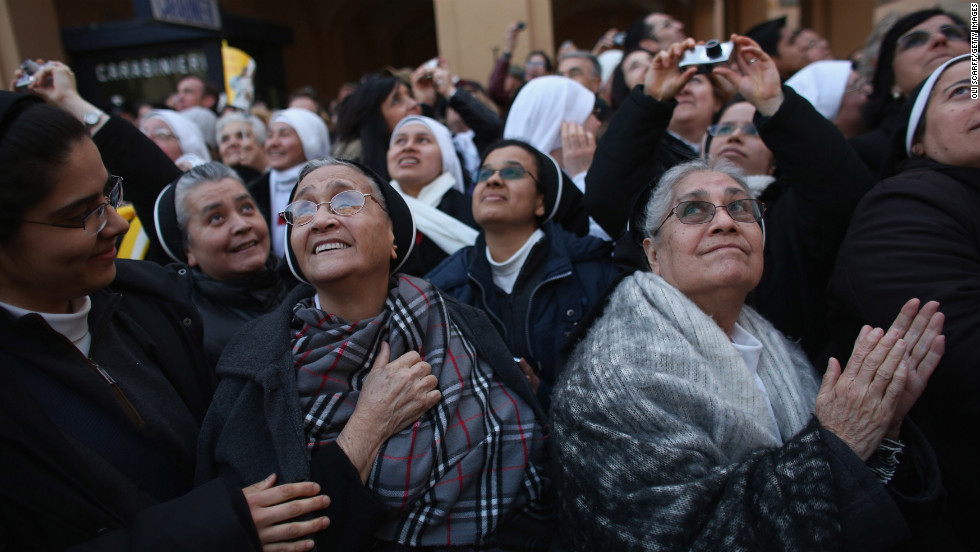 Nuns wait for Pope Benedict XVI in Castel Gandolfo, Italy.