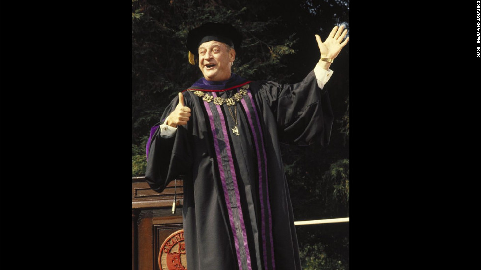 """Rodney Dangerfield played self-made millionaire Thornton Melon in the 1986 classic """"Back to School."""" Melon, dubbed """"the world's oldest living freshman"""" by Dean Martin, enrolls in college in support of his son. There he falls for his professor (Sally Kellerman) and performs the <a href=""""http://www.youtube.com/watch?v=rDMMYT3vkTk"""" target=""""_blank"""">""""Triple Lindy,""""</a> the most challenging dive known to man."""
