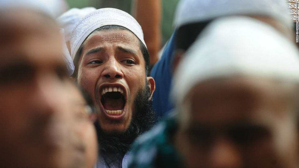 An Islamic party activist shouts during a rally in Dhaka on February 20.