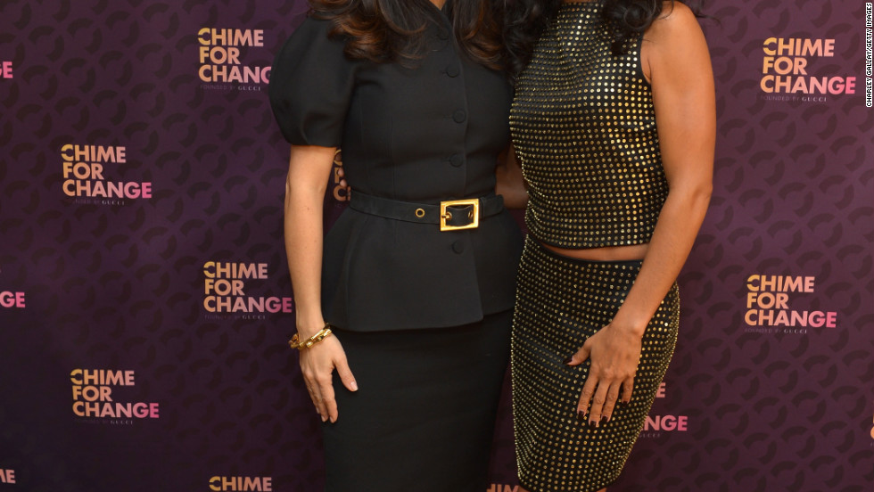 Salma Hayek and Jada Pinkett Smith attend an event in Long Beach, California.