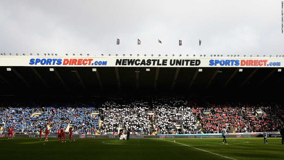 Newcastle fans made their players from across the Channel feel at home by producing a mosaic of the French flag before the 4-2 win over Southampton at St. James' Park.