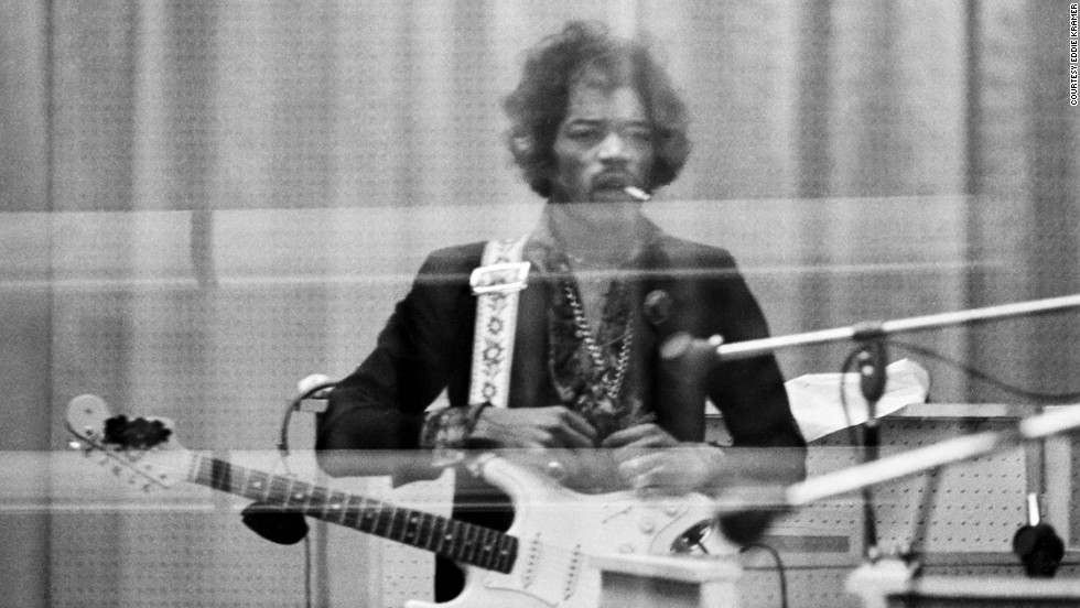 "<strong>Hendrix records at the Record Plant in New York in 1968:</strong><br />""Jimi was very self-demanding and a perfectionist. So when he heard back this particular solo, he was understandably pissed off at the result. His expression reminds me of a gunslinger about to knock off his next opponent ... except that it would be Take 29 of the overdub solo!"" --<em> Eddie Kramer </em>"