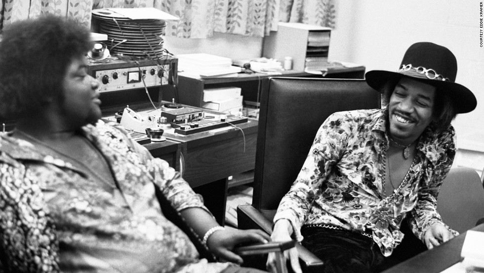 "<strong>Hendrix and Buddy Miles at the Record Plant in New York in 1968:</strong><br />""Jimi had a longstanding warm relationship with Buddy Miles. In this photo Jimi and Buddy can hardly contain their laughter. One of Jimi's most endearing traits was his amazing sense of humor. Even though it was at times self-deprecating, Mitch (Mitchell), Noel (Redding) and myself were often the butt of his jokes ... all in the desire to keep the sessions loose!"" --<em> Eddie Kramer</em>"
