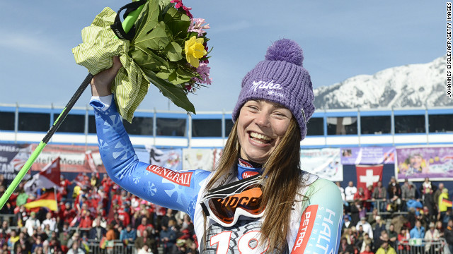 Tina Maze celebrates yet another World Cup win at the women's downhill in Garmisch, Germany.
