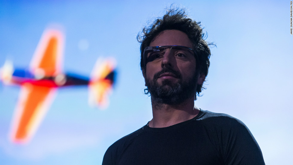 Google CEO Sergey Brin wears Google Glass, a product the company plans to market widely this year.
