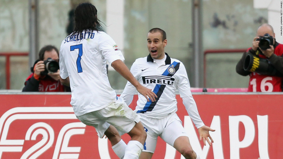 Rodrigo Palacio came off the bench to save Inter Milan as it came from two goals down to win 3-2 at Catania in Serie A.  Palacio scored a 92nd minute winner following a pulsating contest.
