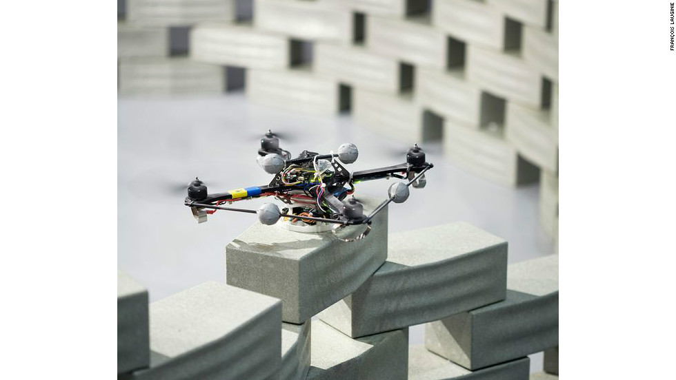 ETH Zurich have also put the quadrocopters to work building a six-meter model tower made by stacking blocks one on top of another.