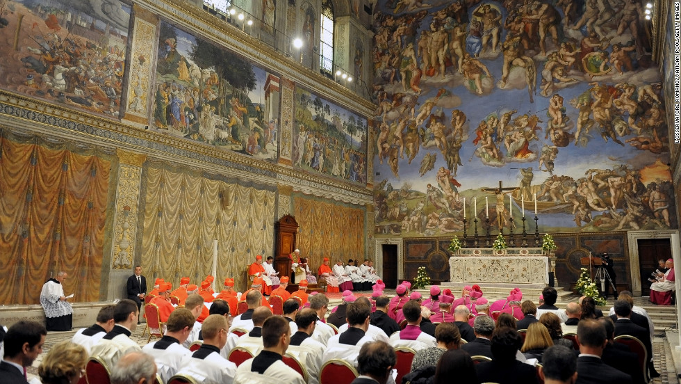 A prayer service is held in the Sistine Chapel on October 31, 2012. The liturgy commemorated the 500th anniversary of the inauguration of the ceiling painted by Michelangelo.