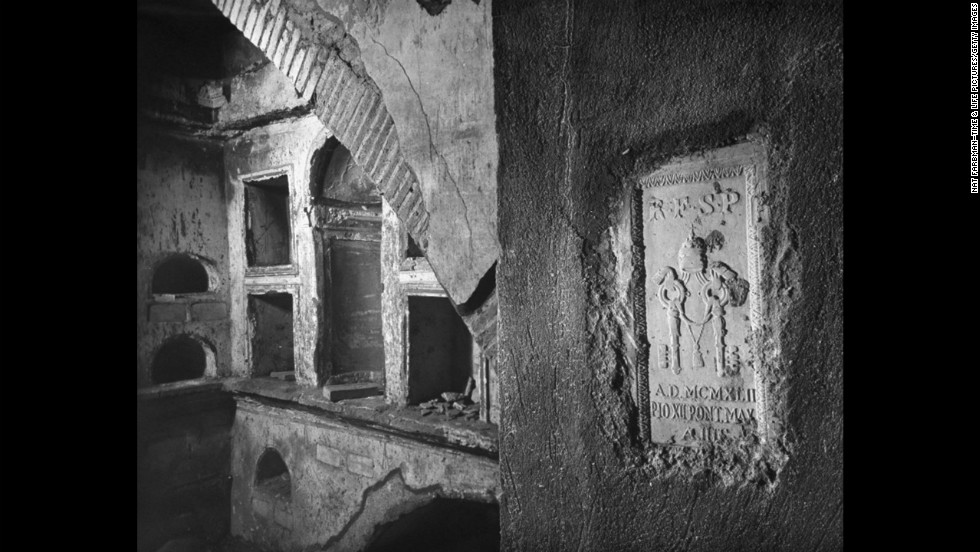"The oldest burial chamber, which was found during the excavation, is seen. <a href=""http://life.time.com/culture/the-vatican-unearthing-history-beneath-st-peters-1950-photos/#1"" target=""_blank"">See more photos from the series</a>."