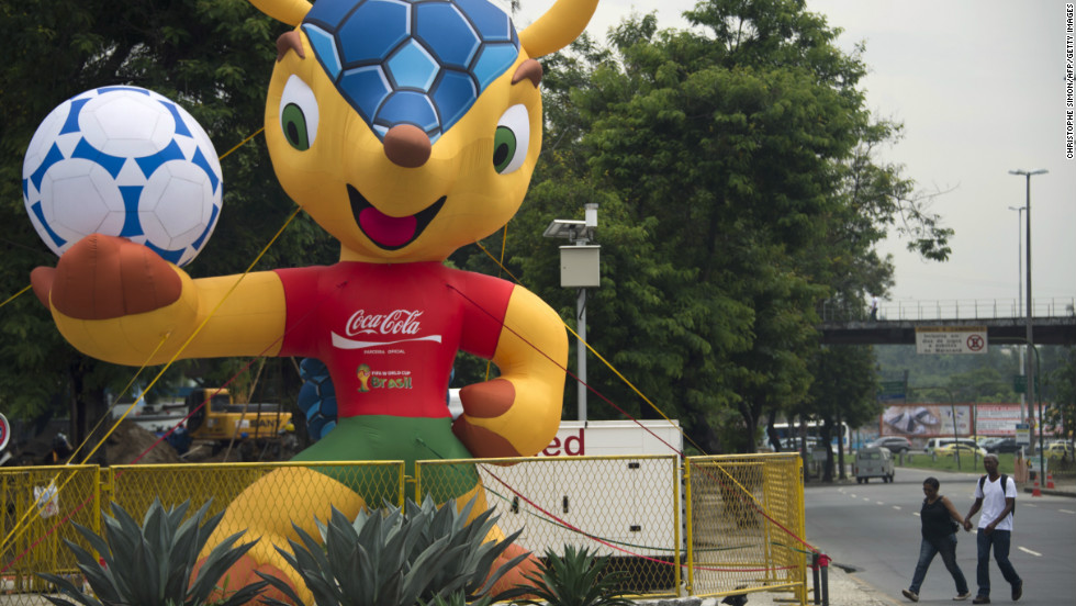 A huge inflatable Fuleco, the mascot of the Brazil 2014 FIFA World Cup, stands by the Maracana stadium in Rio de Janeiro, Brazil, on January 15, 2013.