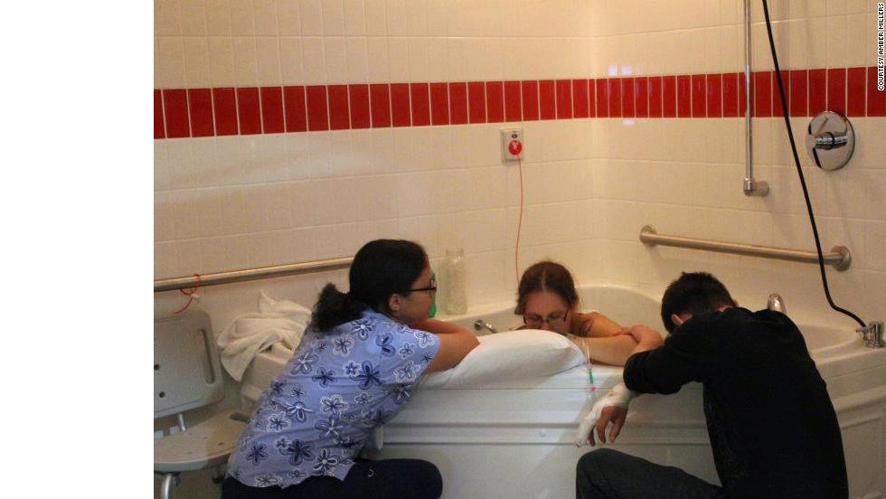 Kelley had a water birth at the University of Michigan Medical Center.