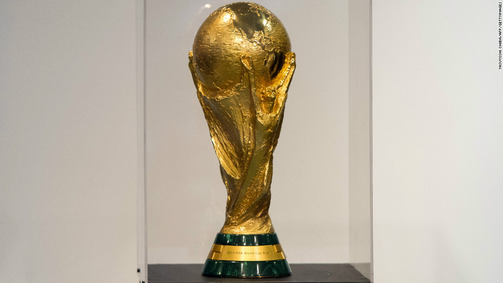 The trophy of the FIFA World Cup 2014, brought to Brazil by former Brazilian football player Cafu from the FIFA headqueaters in Switzerland, is displayed at Morumbi shopping center in Sao Paulo, Brazil, on September 22, 2012.