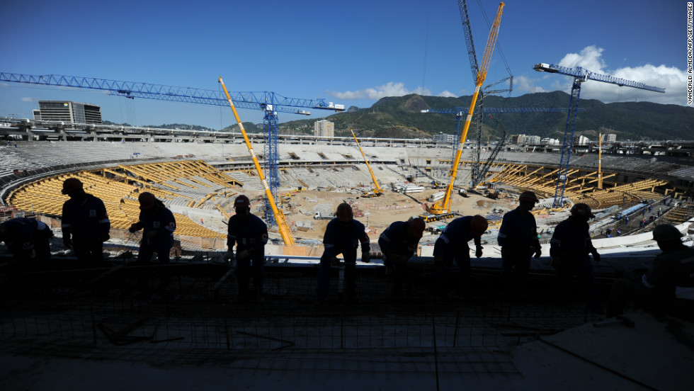 Picture taken during the refurbishment works held at the Mario Filho 'Maracana' stadium in Rio de Janeiro.