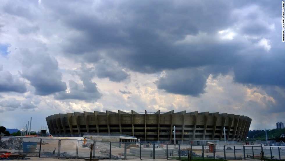 View of the Governador Magalhaes Pinto stadium during renovation works, in Belo Horizonte. The stadium will host both the Brazil 2013 FIFA Confederations Cup and the Brazil 2014 FIFA World Cup.