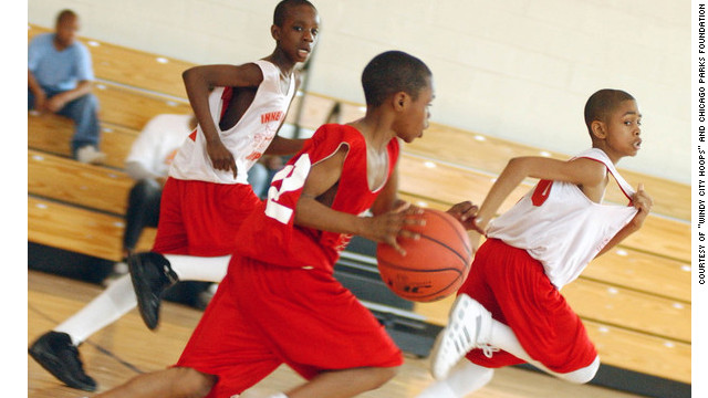 "Kids play basketball for ""Windy City Hoops"" in Chicago."