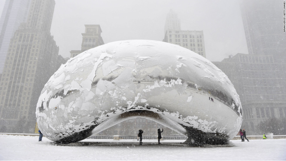 "Chicago had its first snowfall of 6 inches or more since February 2011, leaving the Cloud Gate sculpture, commonly known as ""The Bean,"" covered in the white stuff on March 5."